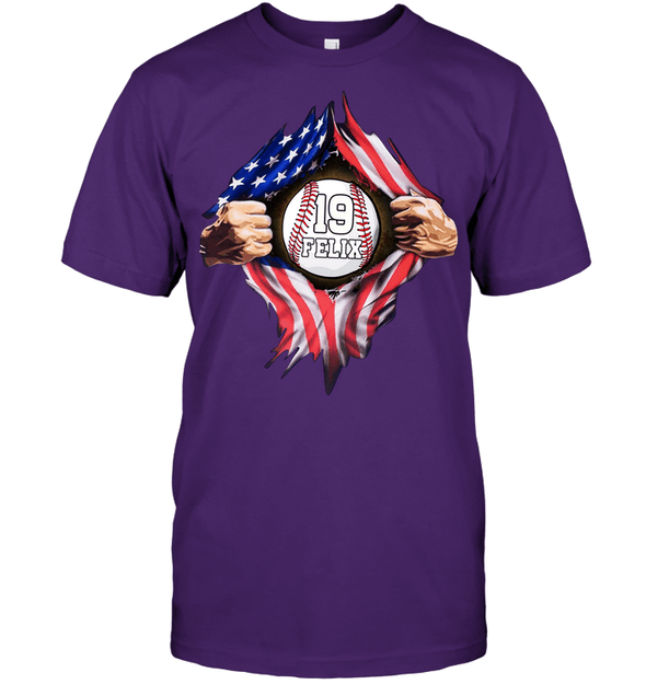 GearLaunch Apparel Unisex Short Sleeve Classic Tee / Purple / S Customized Baseball Flag T-shirt with name #164v