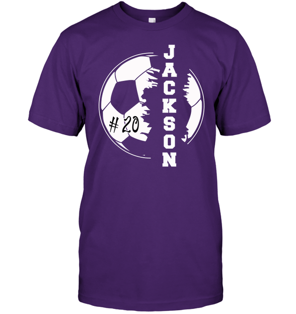 GearLaunch Apparel Unisex Short Sleeve Classic Tee / Purple / S Customized Soccer T-shirt with name #193v