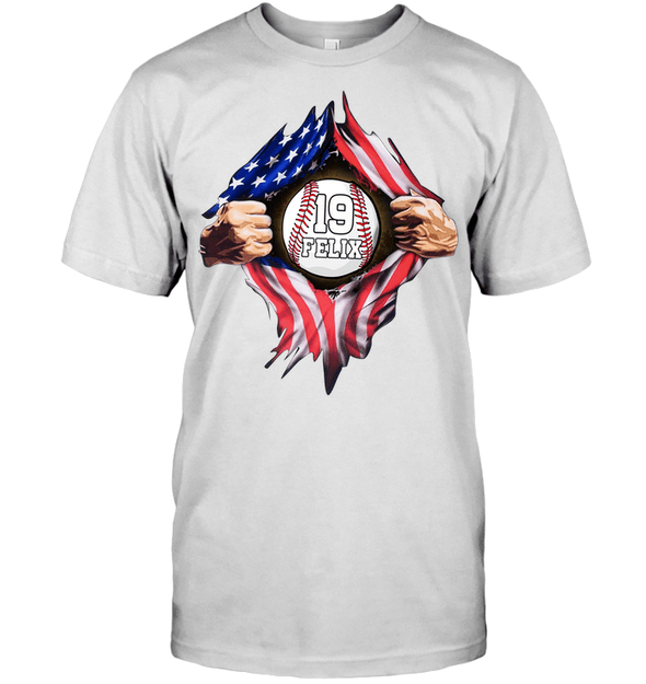 GearLaunch Apparel Unisex Short Sleeve Classic Tee / White / S Customized Baseball Flag T-shirt with name #164v