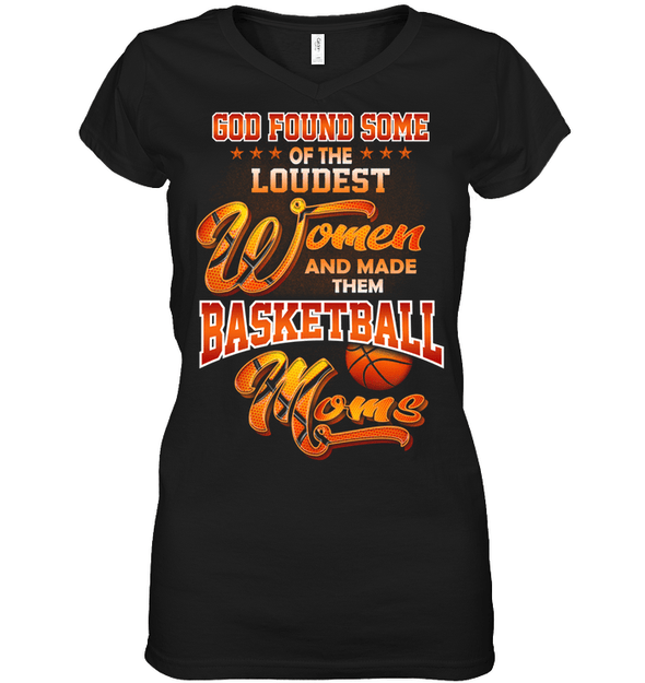 GearLaunch Apparel Womens Short Sleeve Jersey V-neck / Black / S Basketball Custom T Shirt God Found Some Of The Loudest Women