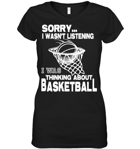 GearLaunch Apparel Womens Short Sleeve Jersey V-neck / Black / S Basketball Thinking about basketball custom tshirt design