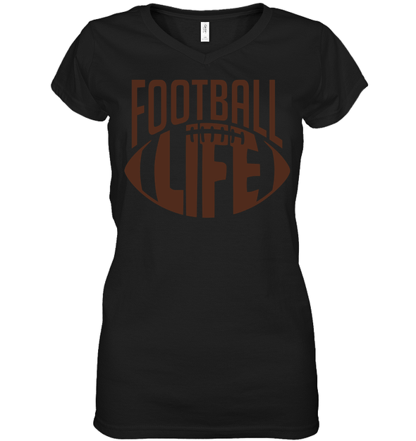 GearLaunch Apparel Womens Short Sleeve Jersey V-neck / Black / S Football Life custom t shirt design