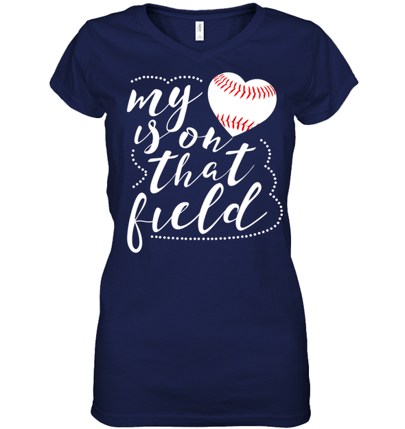 GearLaunch Apparel Womens Short Sleeve Jersey V-neck / Navy / S Baseball t shirt design My Heart is on that field