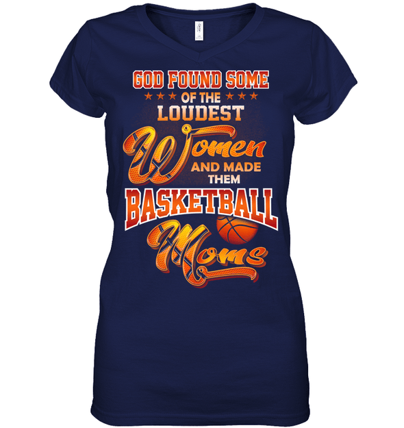 GearLaunch Apparel Womens Short Sleeve Jersey V-neck / Navy / S Basketball Custom T Shirt God Found Some Of The Loudest Women