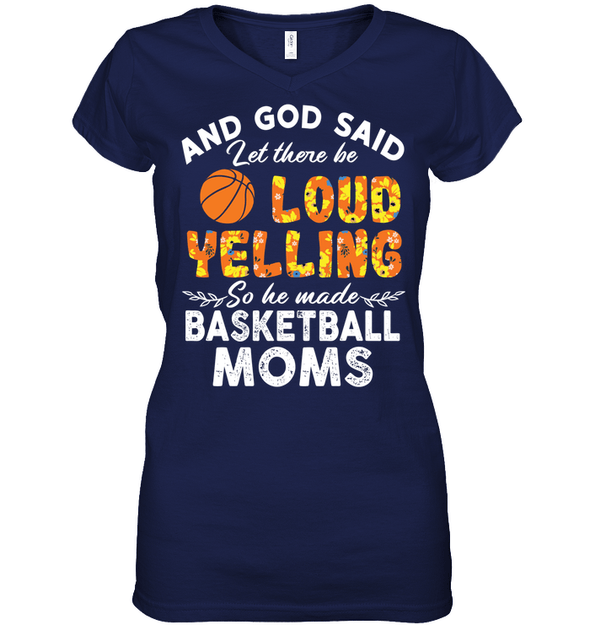 GearLaunch Apparel Womens Short Sleeve Jersey V-neck / Navy / S Basketball Let there be loud yelling custom tshirt design
