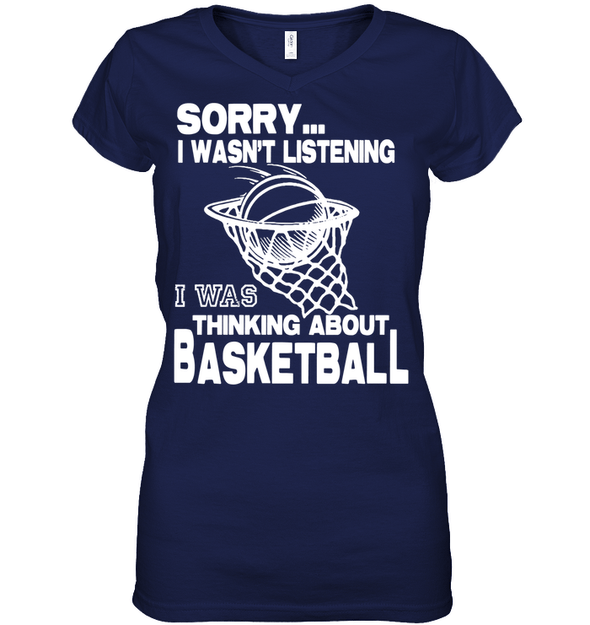 GearLaunch Apparel Womens Short Sleeve Jersey V-neck / Navy / S Basketball Thinking about basketball custom tshirt design