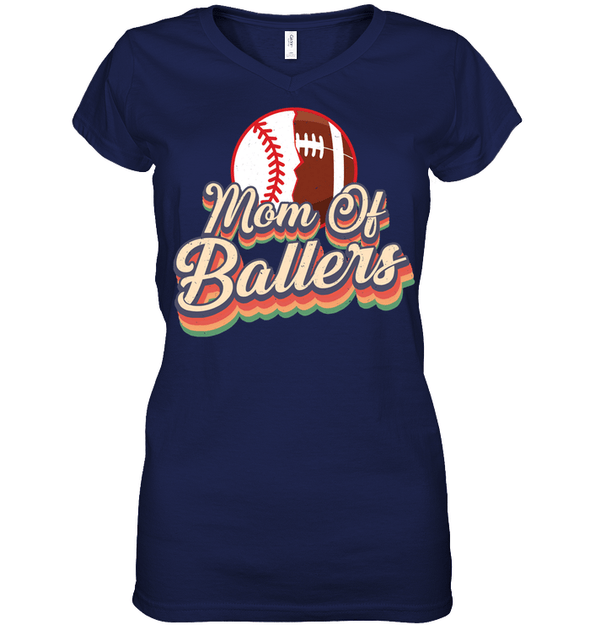 GearLaunch Apparel Womens Short Sleeve Jersey V-neck / Navy / S Football t shirt design Mom Of Ballers