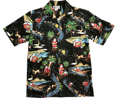 Merry Christmas Santa Claus Black Hawaiian Aloha Shirts