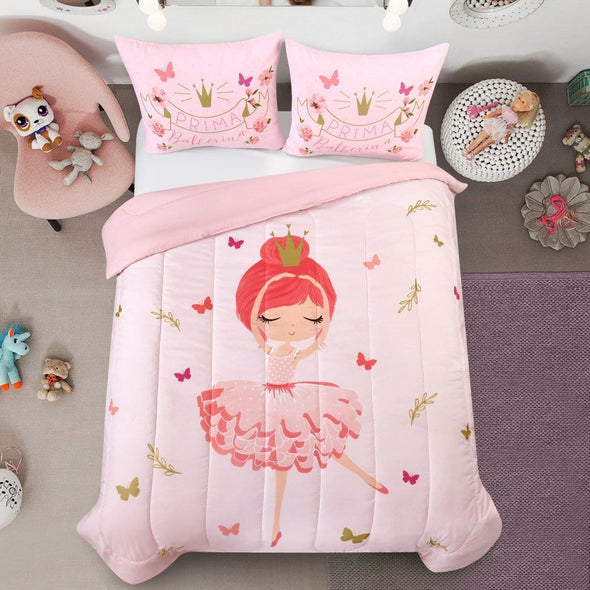 Ballerina Ballet Baby Girl Pink Dancing Bedding Custom Name Duvet Cover Bedding Set #V