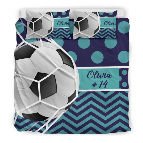 Sportyzen bedding Bedding Set - Beige - Soccer Bedding / US Queen/Full Custom Soccer Bedding Set #291019H