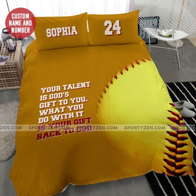 Sportyzen Bedding Set Back To God Softball Custom Duvet Cover Bedding Set with Your Name and Number #905H