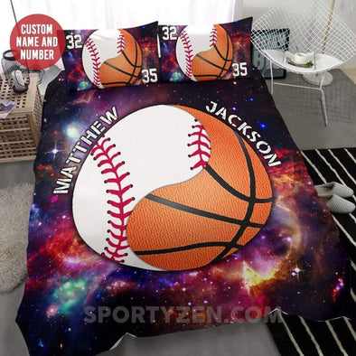 Sportyzen Bedding Set Baseball and basketball Custom Duvet Cover Bedding Set Black #203l