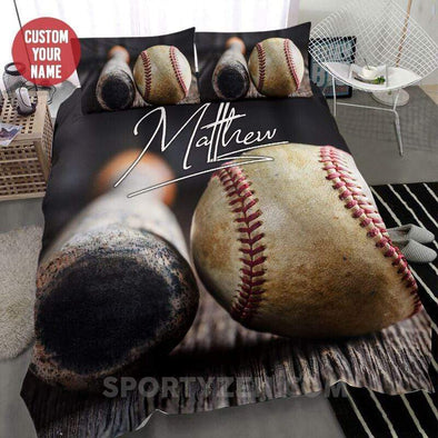 Sportyzen Bedding Set Baseball Bat and Ball Custom Duvet Cover Bedding Set Black #203h