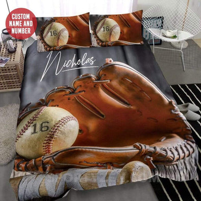 Sportyzen Bedding Set Baseball Glove and Ball Custom Duvet Cover Bedding Set with Your Name #233l