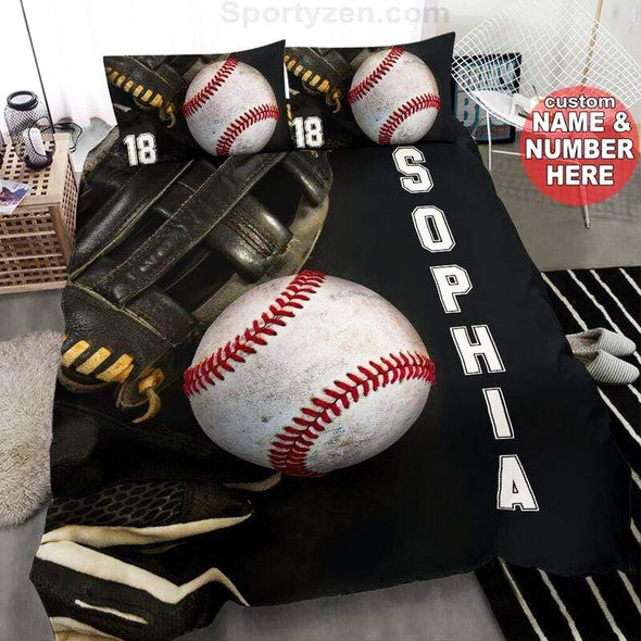 Baseball Glove and Ball Custom Duvet Cover Bedding Set with Your Name #263v