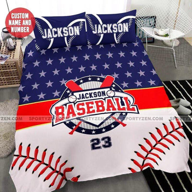 Baseball symbol Custom Duvet Cover Bedding Set with Your Name #0705h