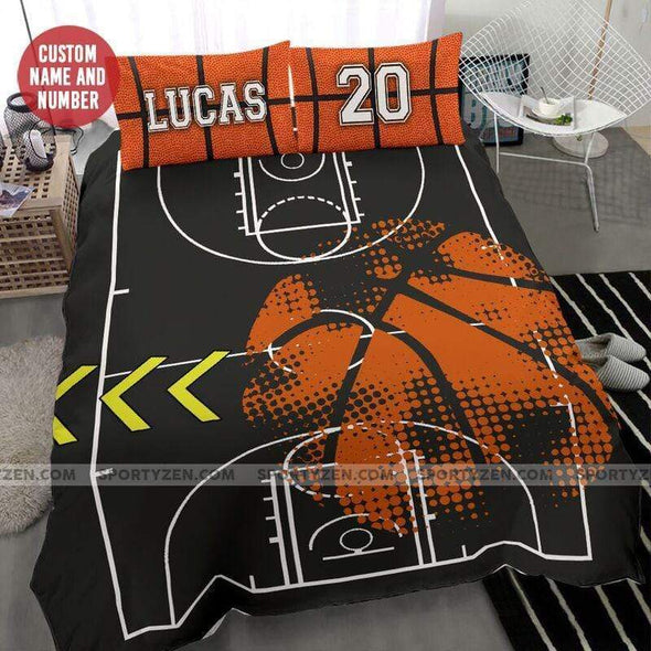 Sportyzen Bedding Set Basketball Ball Court Custom Duvet Cover Bedding Set with Your Name And Number #2504H