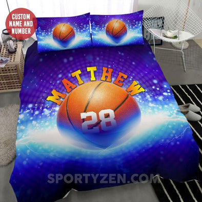Sportyzen Bedding Set Basketball Ball Custom Duvet Cover Bedding Set Black #203h