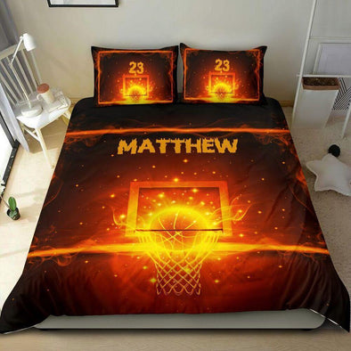 Sportyzen Bedding Set Basketball Custom Duvet Cover Bedding Set Hoop Fire with Your Name #2102H