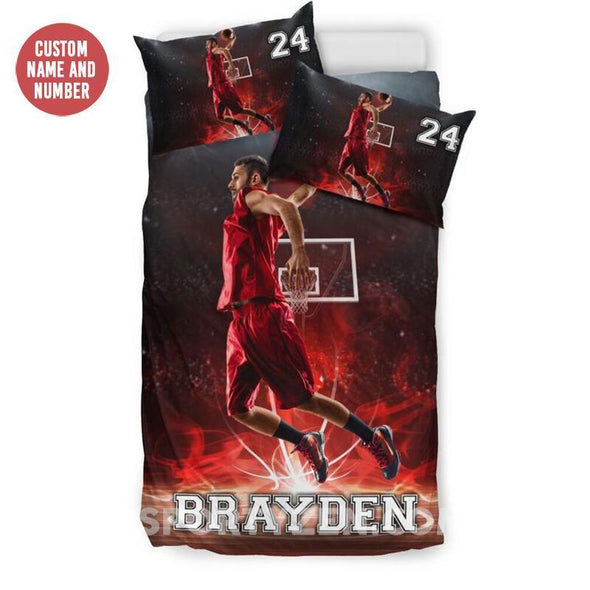 Sportyzen Bedding Set Basketball Custom Duvet Cover Bedding Set Player with Your Name #173h