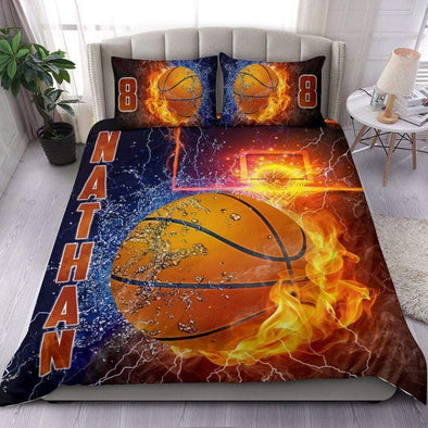 Sportyzen Bedding Set Basketball Custom Duvet Cover Bedding Set Water & Fire with Your Name #1302L