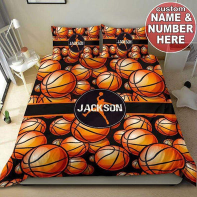 Sportyzen Bedding Set Basketball Custom Duvet Cover Bedding Set with Your Name #103v