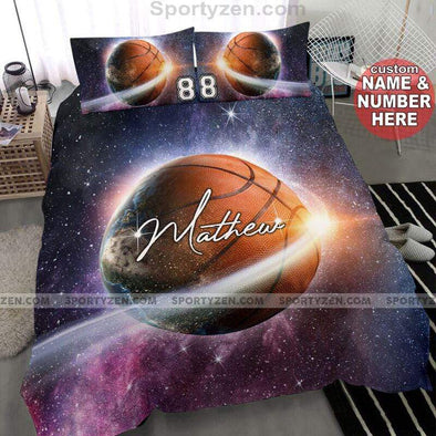 Sportyzen Bedding Set Basketball Galaxy Custom Duvet Cover Bedding Set with Your Name #303v