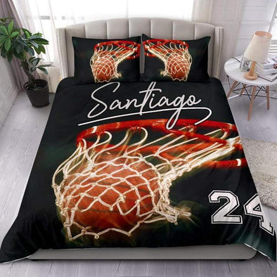 Basketball Hoop Custom Duvet Cover Bedding Set with Your Name #0503h