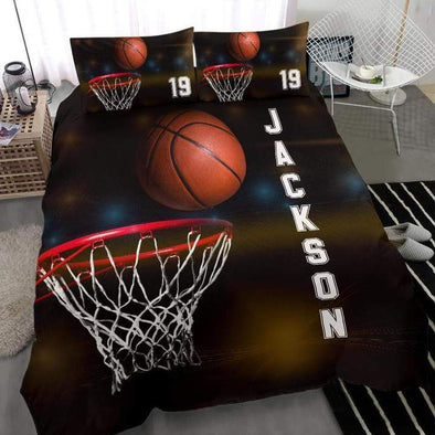Sportyzen Bedding Set Basketball Hoop Custom Duvet Cover Bedding Set with Your Name #242v