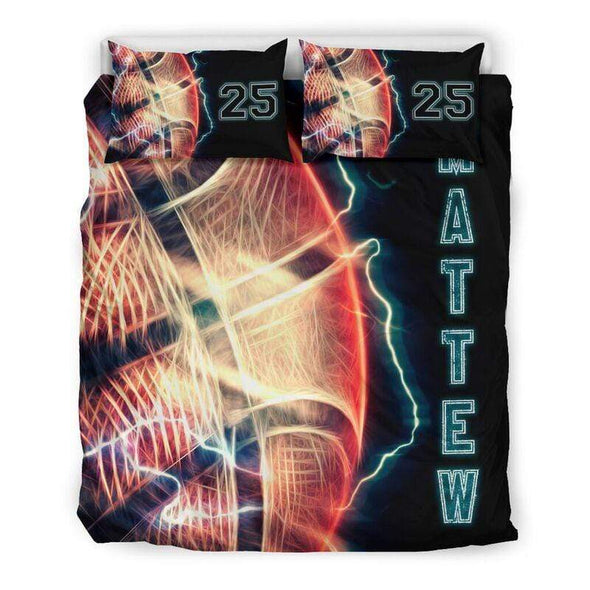 Sportyzen Bedding Set Basketball Thunder Custom Duvet Cover Bedding Set with Your Name #123l