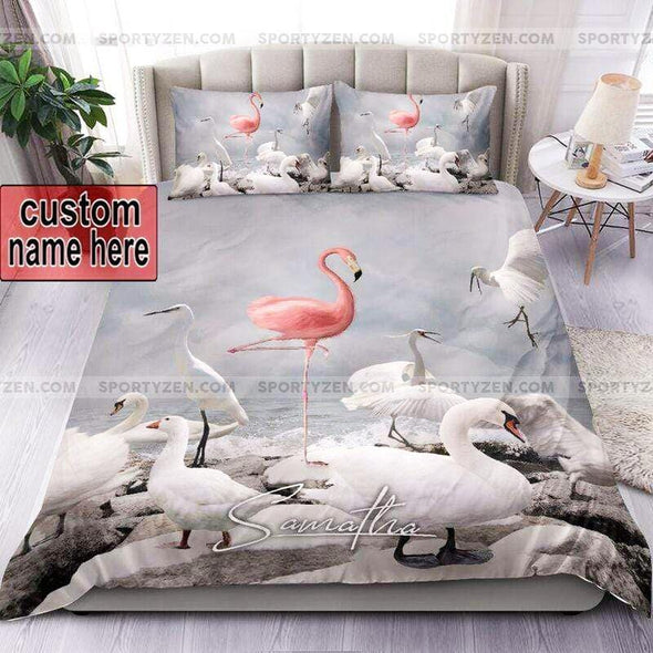 Be different - Stand out from a crowd Custom Flamingo Duvet Cover Bedding Set with Name #0505v
