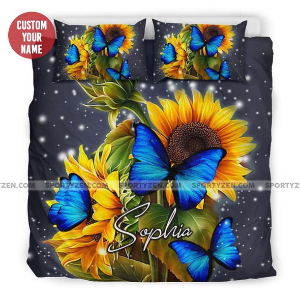 Sportyzen Bedding Set Beautiful Sunflower with butterfly Custom Duvet Cover Bedding Set with Your Name #1505h