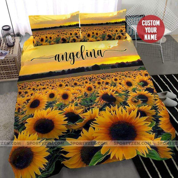 Sportyzen Bedding Set Beautiful Sunset Sunflower Field Custom Duvet Cover Bedding Set with Name #1805l