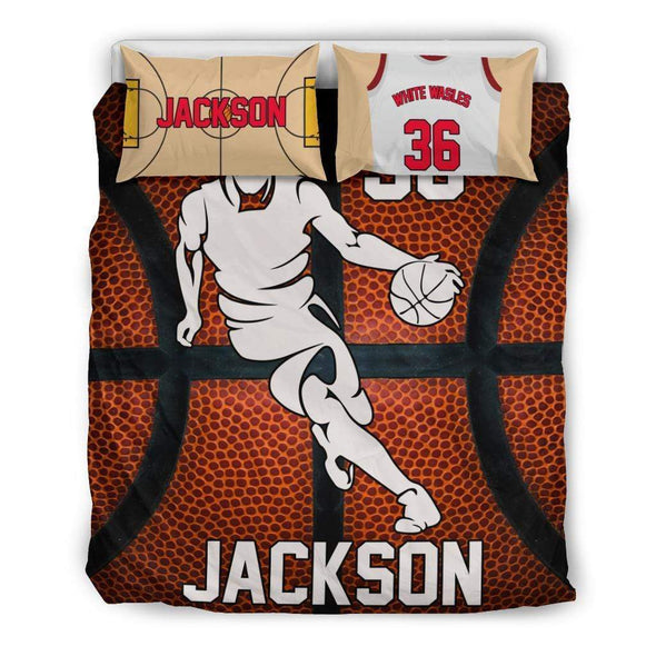 Sportyzen Bedding Set Bedding Set - Black - Custom Basketball Bedding Set #151119H / US Queen/Full Custom Basketball Bedding Set #151119H