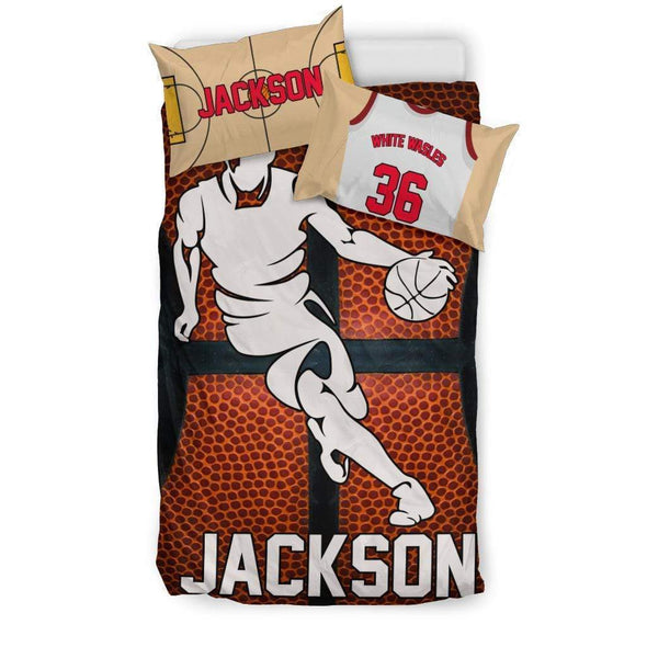 Sportyzen Bedding Set Bedding Set - Black - Custom Basketball Bedding Set #151119H / US Twin Custom Basketball Bedding Set #151119H