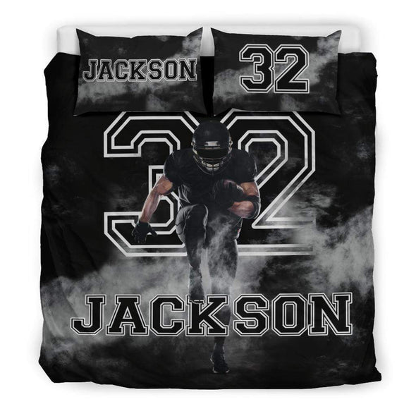 Sportyzen Bedding Set Bedding Set - Black / US King Football Custom Duvet Cover Bedding Set Smoke with Your Name #1202H