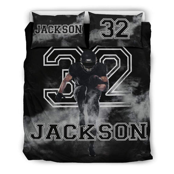 Sportyzen Bedding Set Bedding Set - Black / US Queen/Full Football Custom Duvet Cover Bedding Set Smoke with Your Name #1202H