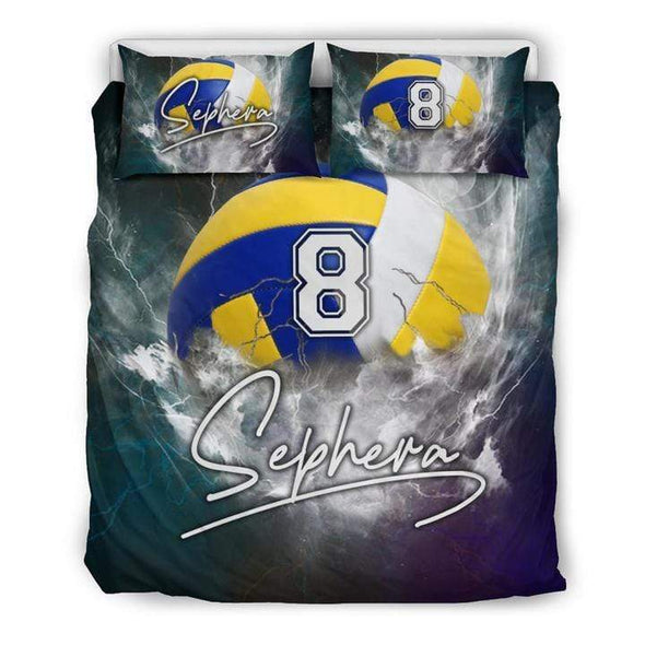 Sportyzen Bedding Set Bedding Set - Black / US Queen/Full Volleyball Custom Duvet Cover Bedding Set with Your Name #13220H