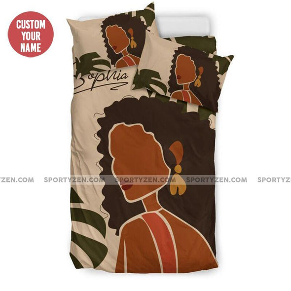 Sportyzen Bedding Set Black Girl African leaf Custom name comforter set Duvet Cover Bedding Set #1505H