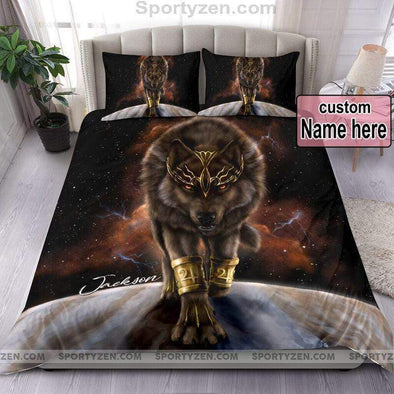 Sportyzen Bedding Set Brown Wolf The King Duvet Cover Bedding Set  With Your Name #270420V
