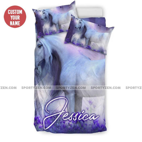 Sportyzen Bedding Set Copy of Dreamy Unicorn Rainbow Duvet Cover Bedding Set With Name #274v