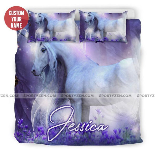 Sportyzen Bedding Set Custom A majestic unicorn with little fairies Bedding Set With Name #274h