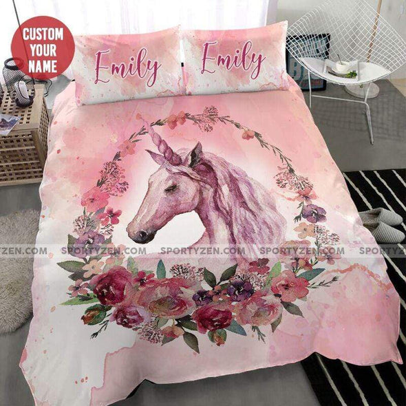 Sportyzen Bedding Set Custom Duvet Cover Personalized Pink Flower Unicorn Bedding Set With Your Name #1205L
