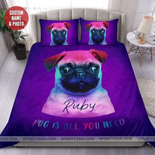 Sportyzen Bedding Set Dog Custom Duvet Cover Bedding Set with Your Name and Photo #280320L