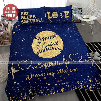 Sportyzen Bedding Set Dream big little one Galaxy Softball duvet cover bedding set with name #2406l