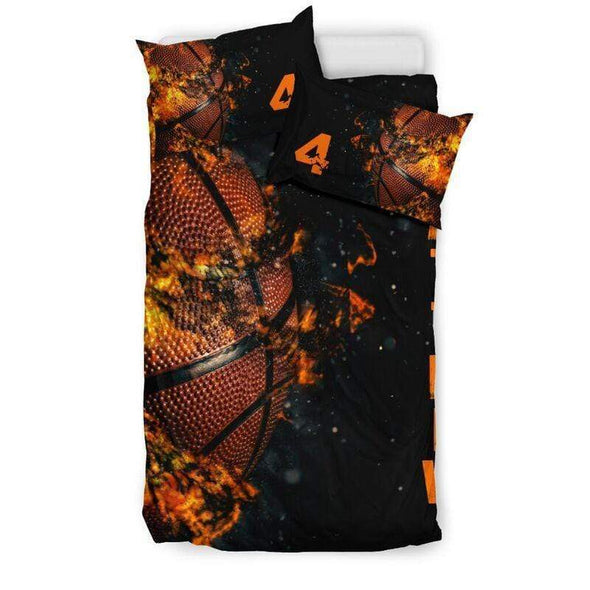 Sportyzen Bedding Set Fire Basketball Ball Custom Duvet Cover Bedding Set with Your Name #155l