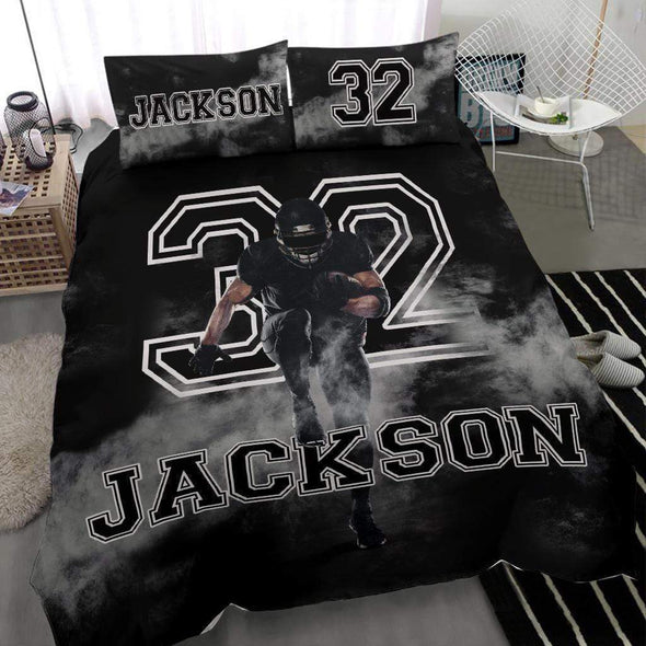 Sportyzen Bedding Set Football Custom Duvet Cover Bedding Set Smoke with Your Name #1202H