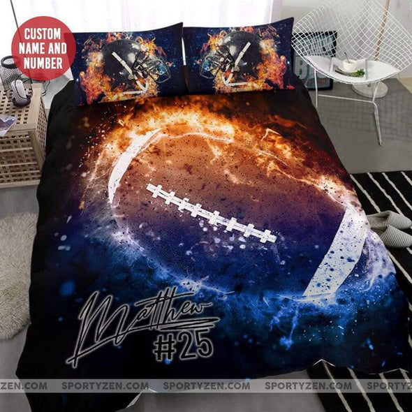 Sportyzen Bedding Set Football Custom Duvet Cover Bedding Set with Your Name and Number#70420L
