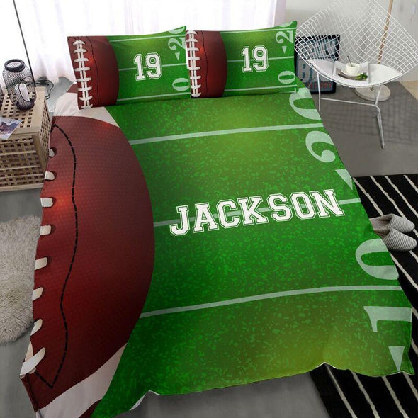 Sportyzen Bedding Set Football Field Custom Duvet Cover Bedding Set Stadium with Your Name #0603h