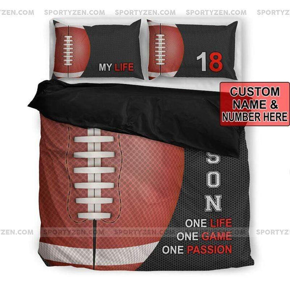 Sportyzen Bedding Set Football My Life Custom Duvet Cover Bedding Set with Your Name And Number #2205V